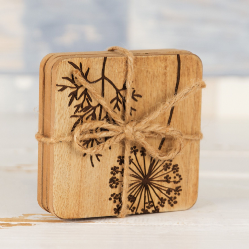 Set of 4  Wooden Coasters with Botanical print detail